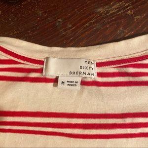 Ten Sixty Sherman Tops - Ten Sixty Sherman Flutter Sleeve Striped T Shirt